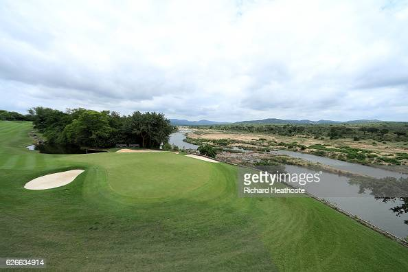 A view of the par 5 13th green with the Crocodile River and Kruger National Park behind during previews for the Alfred Dunhill Championship at...