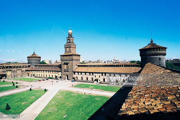 View of the parade ground of Sforza castle Milan Lombardy Italy