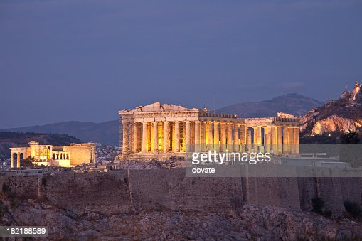 A view of the Parthenon at dusk