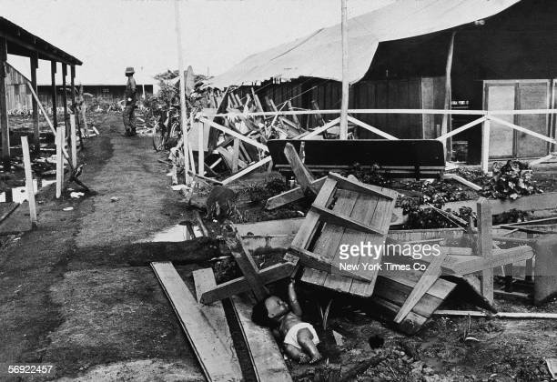 View of the partially collapsed main pavillion in the Jonestown compound Guyana November 28 1978 The site was host to a mass suicide led by the...