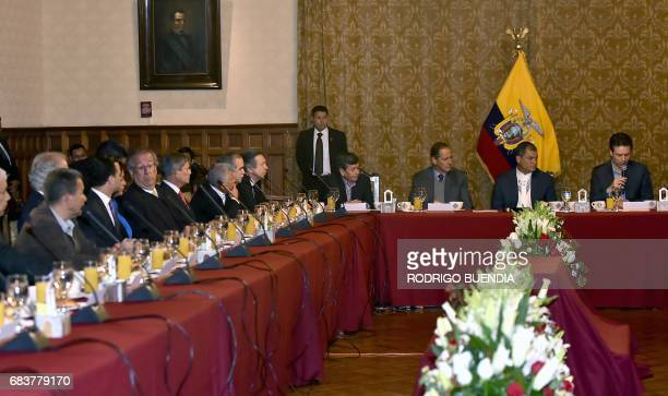 View of the peace talks between Colombia's ELN guerrila the Colombian government at the Carondelet presidential palace in Quito on May 16 2017 / AFP...