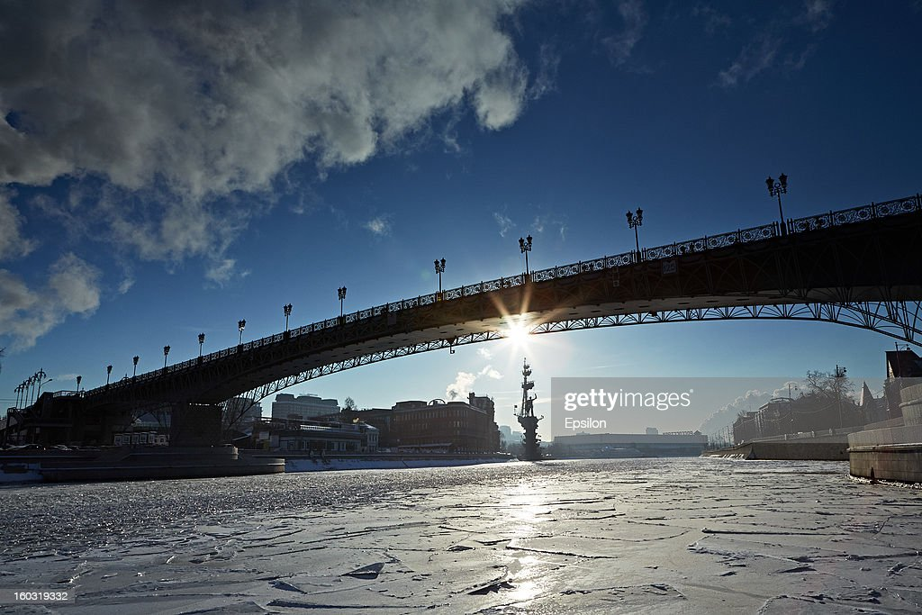 A view of the Peter Great monument with the Moskva River iced over on December 17, 2012 in Moscow, Russia.