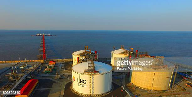 A view of the PetroChina liquefied natural gas import terminal on September 22 2016 in Rudong China The terminal PetroChina's first has received 1134...