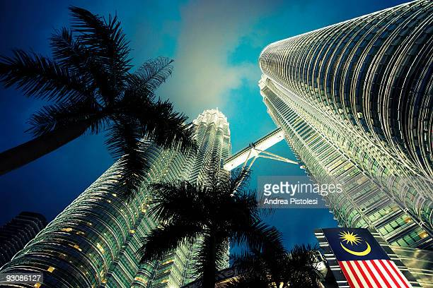 A view of the Petronas Towers at night in Kuala Lumpur Malaysia