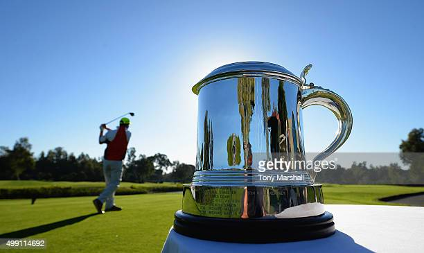 A view of the PGA Play Off Trophy while Greig Hutcheon of Paul Lawrie Golf Centre plays his first shot on the 1st tee during the thrd round of the...