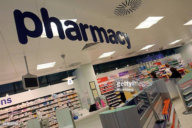 View of the pharmacy at the Boots flagship store on Oxford Street in London UK on Friday Oct 7 2005 Reckitt Benckiser Plc the maker of Lemsip...