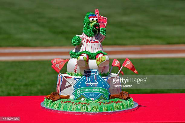 A view of the Phillie Phanatic's birthday cake before a game between the Atlanta Braves and the Philadelphia Phillies at Citizens Bank Park on April...