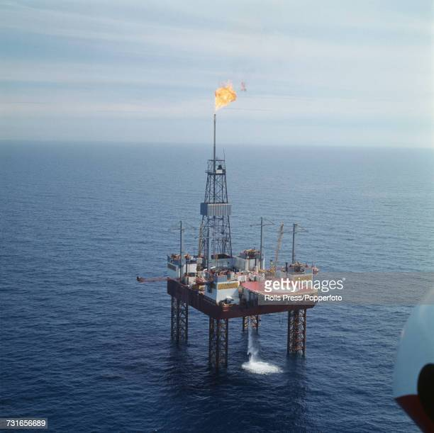 View of the Phillips Petroleum Gulftide oil rig platform after the start of production and extraction of oil from the Ekofisk offshore oil field in...