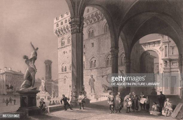 View of the Piazza della Signoria from the Loggia della Signoria also called Loggia dei Lanzi in Florence Tuscany Italy steel engraving by James...