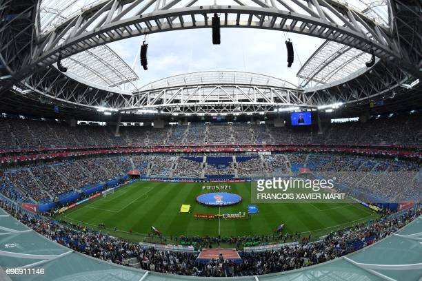 TOPSHOT A view of the pitch and players prior to the start of the 2017 Confederations Cup group A football match between Russia and New Zealand at...