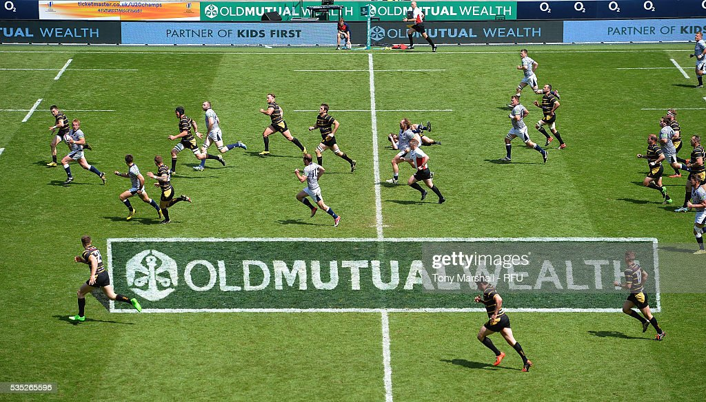 A view of the pitch as Cheshire play Cornwall during the Bill Beaumont Cup Final at Twickenham Stadium on May 29, 2016 in London, England.