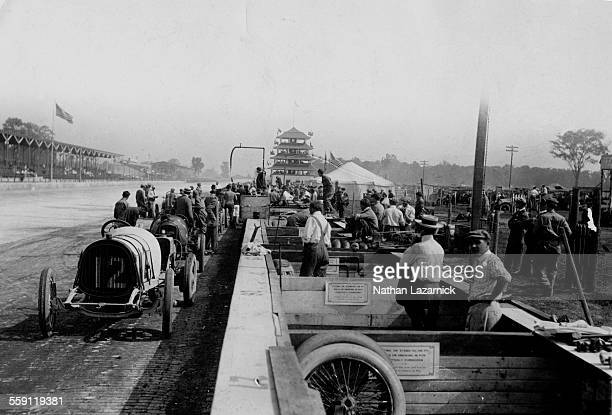 A view of the pits and original Pagoda on the front straightaway during the Indianapolis 500 on 30 May 1911 at the Indianapolis Motor Speedway...