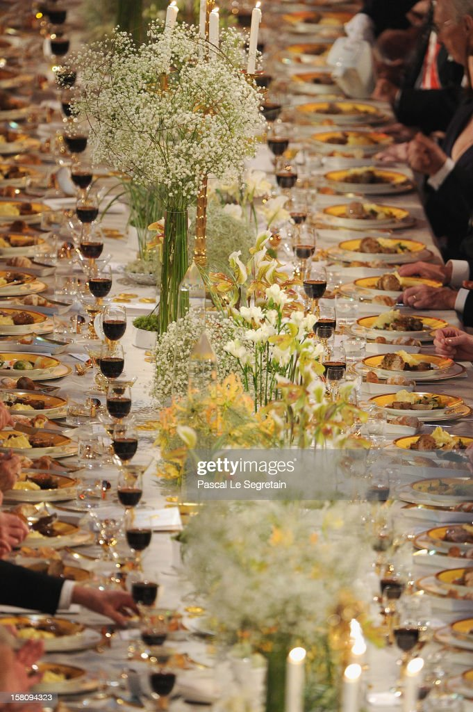 A view of the plates of food and glasses of wine on one of the tables at the Nobel Banquet after the 2012 Nobel Prize Ceremony at Town Hall on December 10, 2012 in Stockholm, Sweden.