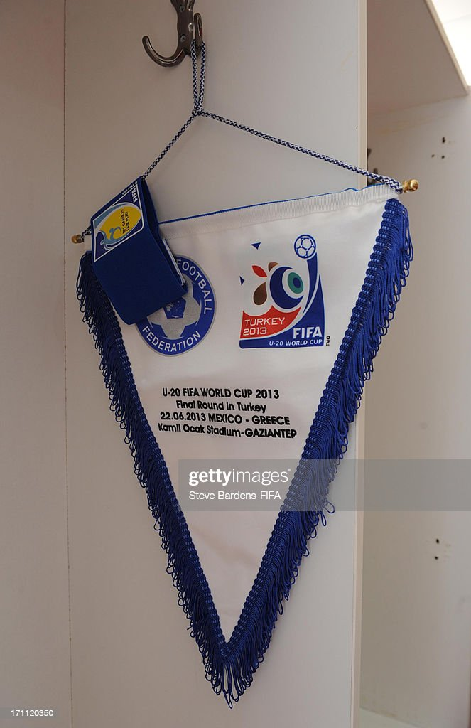 A view of the players shirts in the Greece dressing room before the FIFA U20 World Cup Group D match between Mexico and Greece at Kamil Ocak Stadium on June 22, 2013 in Gaziantep, Turkey.