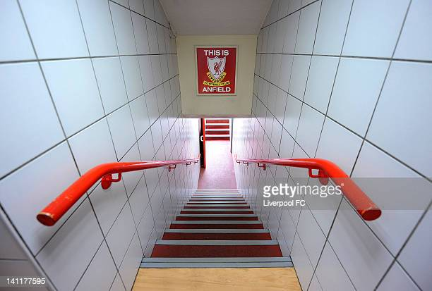 A view of the player's tunnel showing the iconic 'This Is Anfield' sign at Anfield January 2011 in Liverpool England