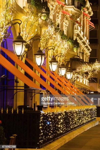 View of the Plaza Athenee Hotel and the Christmas Lights at Montaigne Avenue in Paris on November 17 2017 in Paris France