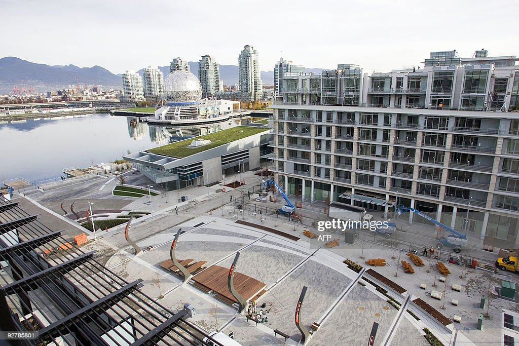View of the Plaza Community Centre and False Creek's Science World in the Olympic and Paralympic Village Vancouver set on the waterfront of the City...