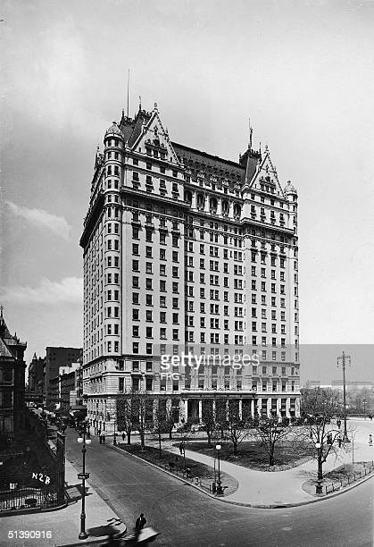 View of the Plaza Hotel located at Fifth Avenue and Central Park South New York New York 1910s The Plaza the most expensive hotel opened in 1907 has...