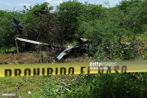 View of the police helicopter wreckage which was shot down on the eve during an operation to capture leaders of an unidentified criminal on September...