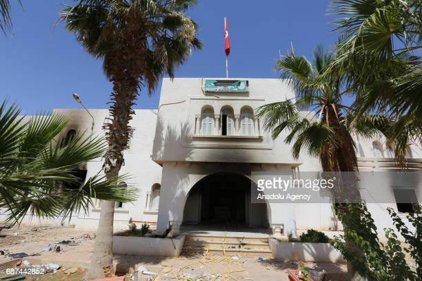 A view of the police station which was set afire by protesters during a protest in Tataouine Tunisia on May 23 2017 Anouar Sakrafi one of the...