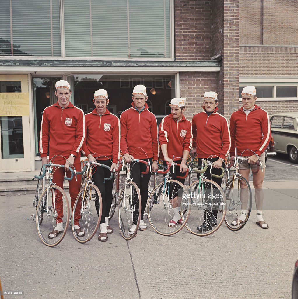 View of the Polish cycling team lined up together for the start of the first stage of the 1969 Milk Race Tour of Britain in Worthing England on 25th...