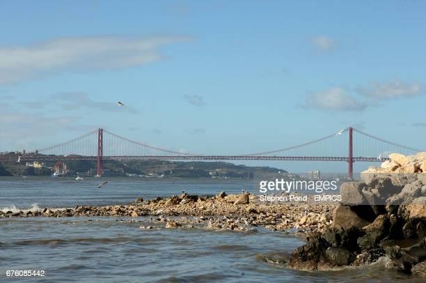 A view of the Ponte 25 de Abril suspension bridge in Lisbon Portugal