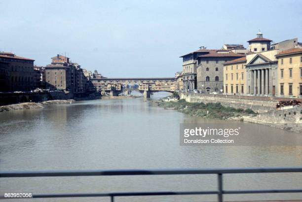 A view of the Ponte Vecchio across the Arno River on September 15 1963 in Florence Italy