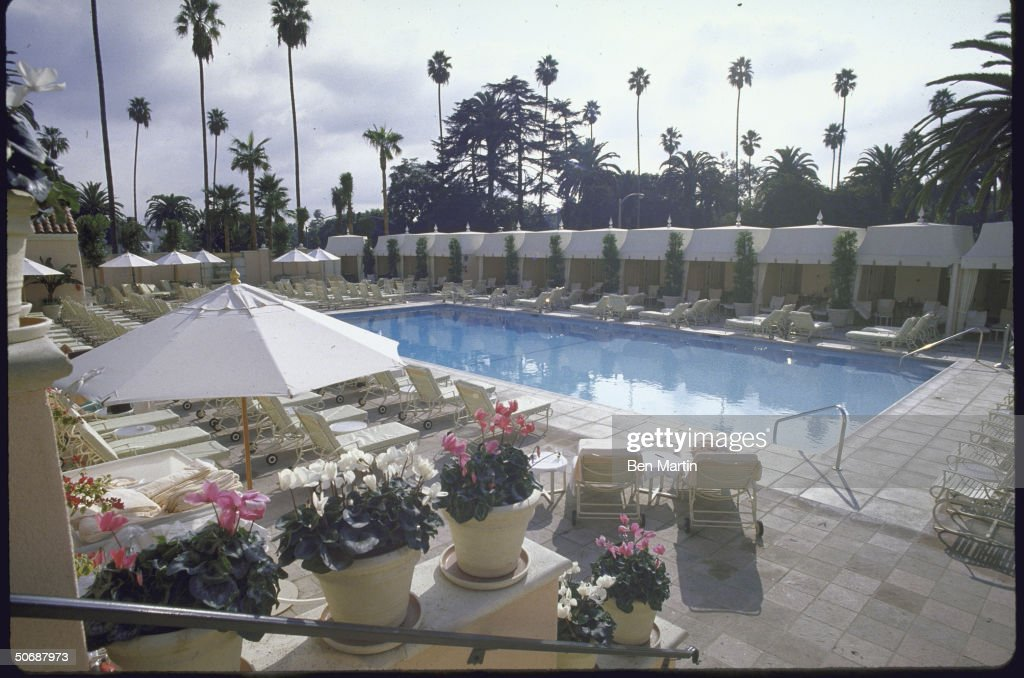A view of the pool at the Beverly Hills Hotel
