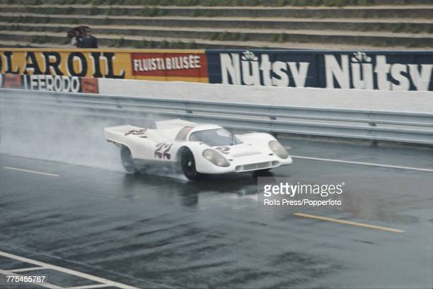 View of the Porsche 917K Porsche 45L Flat12 racing car driven by Mike Hailwood and David Hobbs for John Wyer Automotive Engineering Team during the...