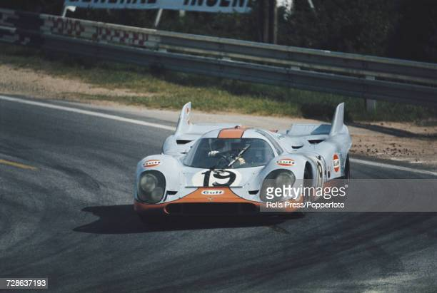 View of the Porsche 917K Porsche 49L Flat12 racing car driven by Herbert Muller of Switzerland and Richard Attwood of Great Britain for the John Wyer...