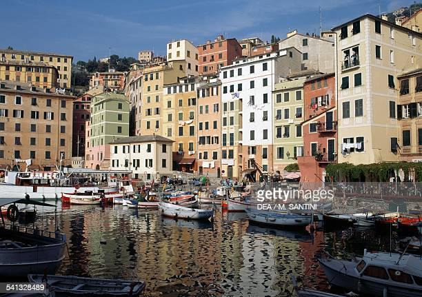 View of the port of Camogli Liguria Italy