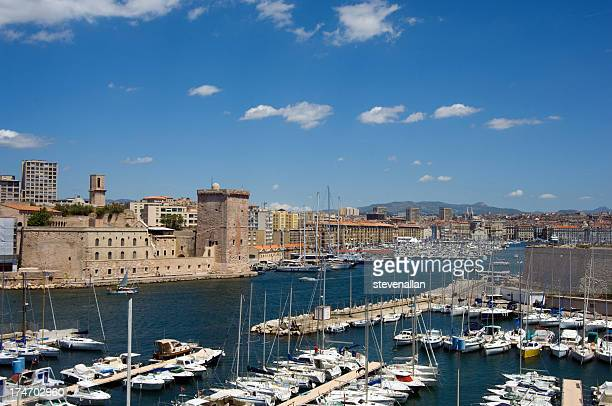 A view of the port of Marseille in France with boats