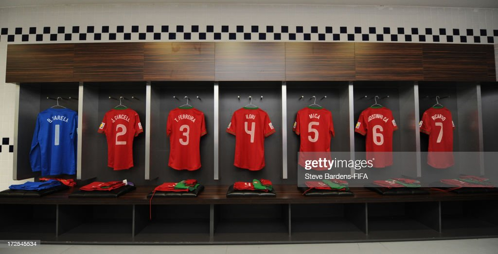 A view of the Portugal players kit laid out in the Portugal dressing room before the FIFA U20 World Cup Round of 16 match between Portugal and Ghana at Kadir Has Stadium on July 3, 2013 in Kayseri, Turkey.