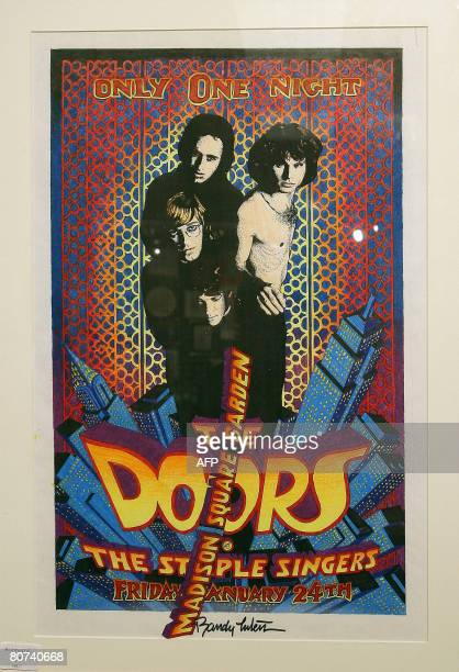 View of the poster design for The Doors at Madison Square Garden estimated between 2000 and 3000 USD from Peter Golding collection at Bonhams and...