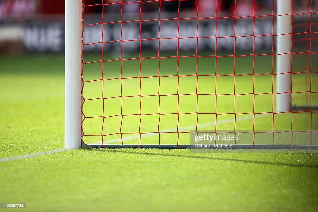 A view of the posts and net of a goal during the Barclays Premier League match between Southampton and Newcastle United at the St Mary's Stadium on...