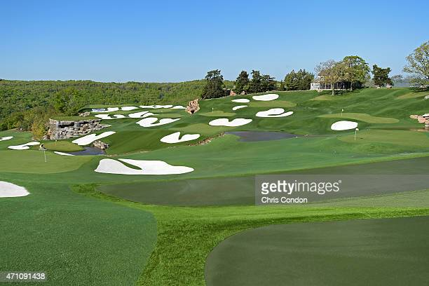 A view of the practice range during the second round of the Champions Tour Bass Pro Shops Legends of Golf at Big Cedar Lodge at Top of the RockLD on...