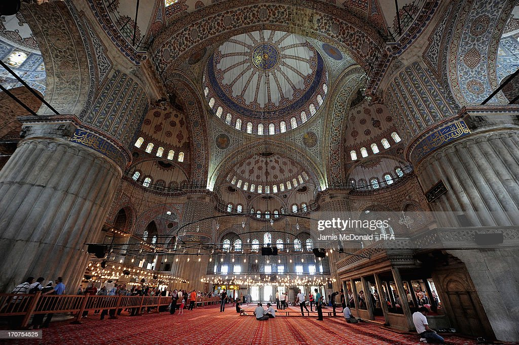A view of the prayer room inside the Blue Mosque on June 17, 2013 in Istanbul, Turkey.
