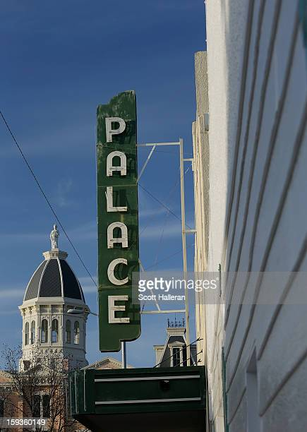 A view of the Presidio County Courthouse and the former Palace Theater on December 25 2012 in Marfa Texas Situated in West Texas this town of just...