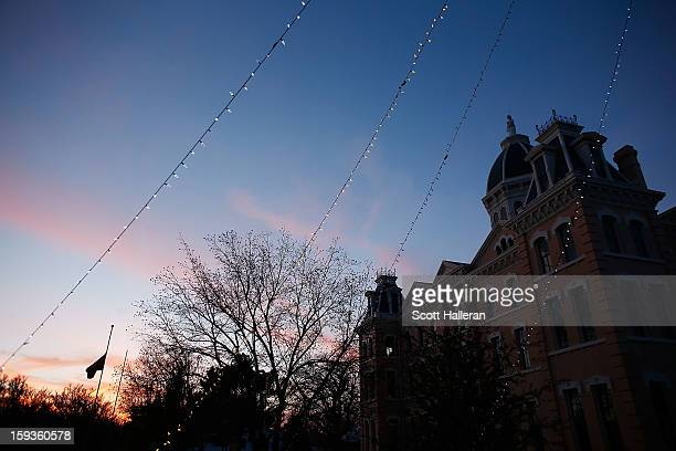 A view of the Presidio County Courthouse as the sunsets on December 25 2012 in Marfa Texas Situated in West Texas this town of just over 2000...