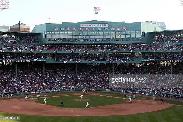 A view of the press box from center field during the game between the New York Yankees and the Boston Red Sox on April 20 2012 at Fenway Park in...