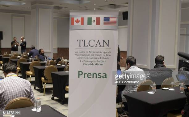 View of the press centre during the first day of the second round of talks of the NAFTA in Mexico City on September 1 2017 The United States Mexico...