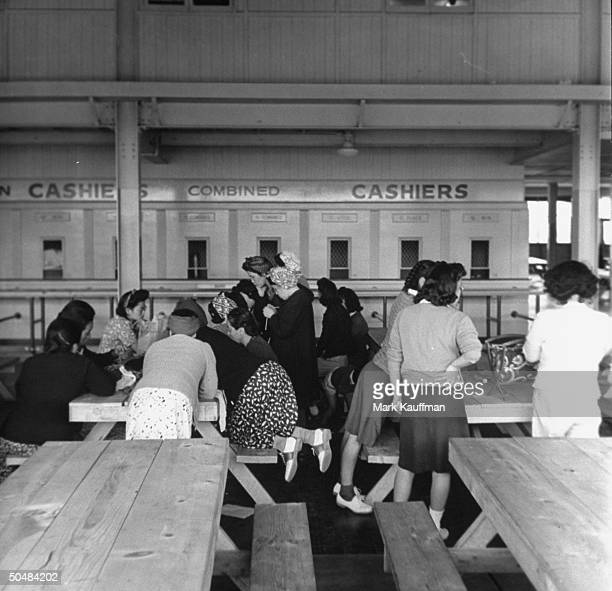 A view of the prisoners talking in the Japanese occupation camps in Santa Anita