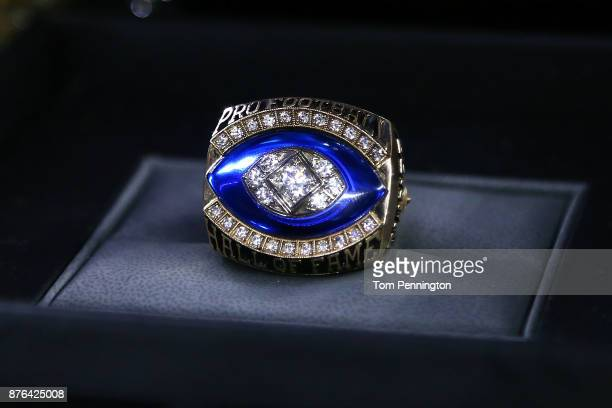 View of the Pro Football Hall of Fame ring that will be presented to Dallas Cowboys owner Jerry Jones at halftime during the game between the Dallas...