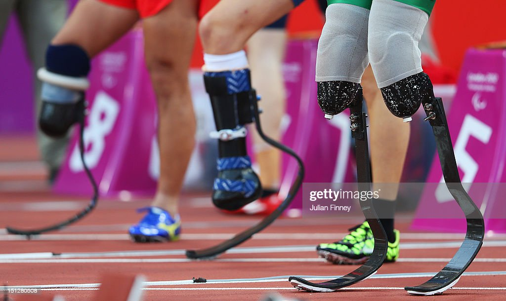 A view of the prosthetics legs of Alan Fonteles Cardoso Oliveira of Brazil prior to the Men's 100m T44 heats on day 7 of the London 2012 Paralympic...