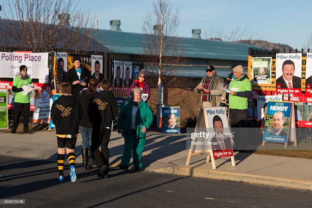 A view of the public arriving to vote in the electorate of Eden-Monaro on July 2, 2016 in Canberra, Australia. Voters head to the polls today to elect the 45th parliament of Australia.