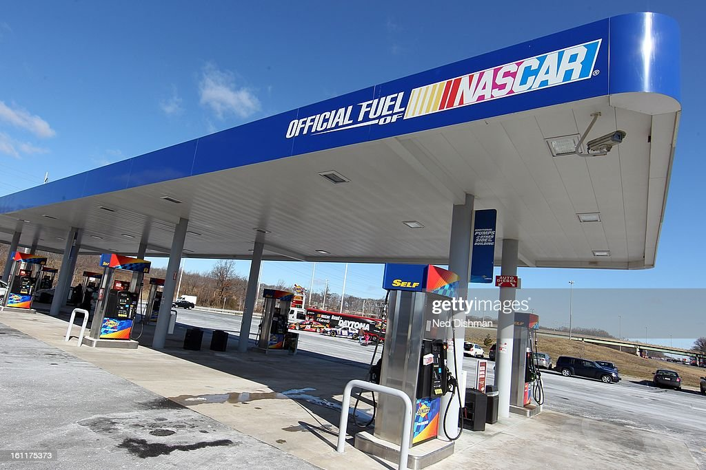 A view of the pumps and racecars during a Road to Daytona Fueled By Sunoco Tour stop at the Sunoco Station on February 9, 2013 in Newark, Delaware.
