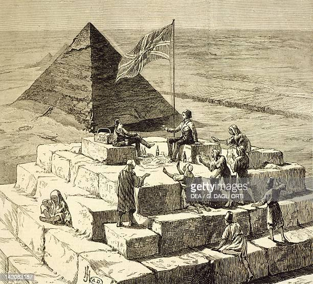 View of the Pyramid of Chefren from the top of Cheope Pyramid in Giza Egypt 19th Century Engraving