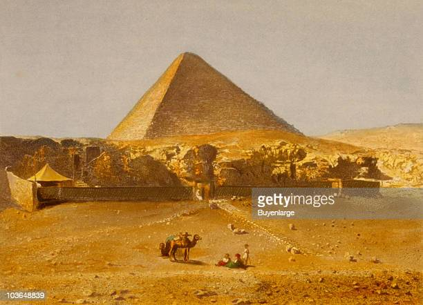 View of the pyramid of Cheops with people and camels in the foreground Egypt 1842 Ilustration by Lerebours