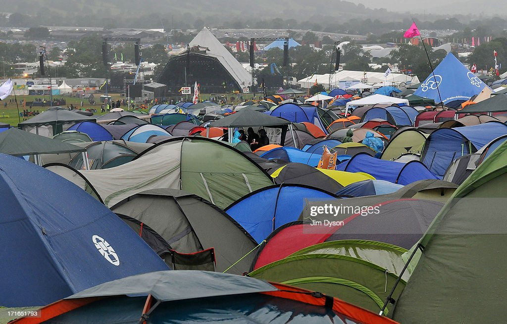A view of the Pyramid stage as final preparations are made during day 1 of the 2013 Glastonbury Festival at Worthy Farm on June 27, 2013 in Glastonbury, England.
