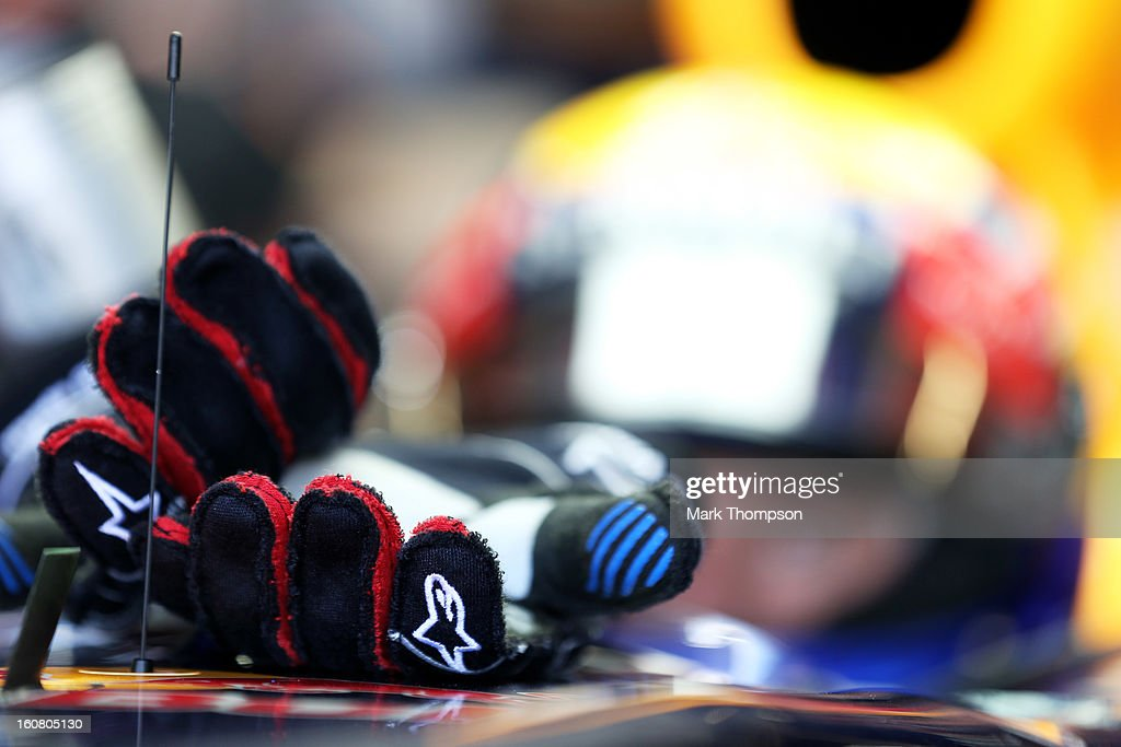 A view of the race gloves belonging to Mark Webber of Australia and Infiniti Red Bull Racing during Formula One winter testing at Circuito de Jerez on February 6, 2013 in Jerez de la Frontera, Spain.
